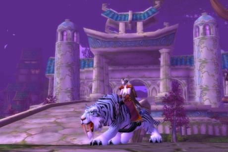 Sapphire rides a white tiger